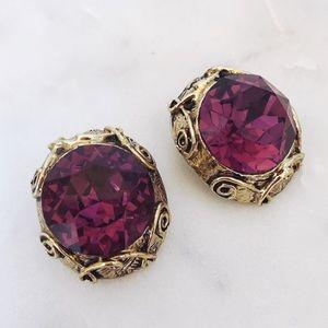 Large Gold Tone Purple Gem Clip On Earrings